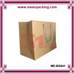 China Custom Brown Kraft Paper Shopping Bag with PP Cotton Handle ME-BG041 on sale
