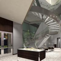 Best Prefabricated Stainless Steel Glass Stairs Curved Stair Manufacturers with Spigot Glass Railing wholesale