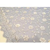 Best Embroidered White And Blue Sequin Floral Lace Fabric With Scalloped Edging wholesale
