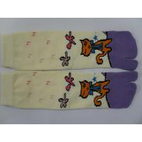 Best Custom Made Yellow + Purple Combed Cotton Separate Two Toe Socks With Cat Pattern wholesale