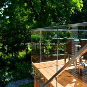 Cheap Shenzhen  Ace Frameless Corridor Stainless Steel Standoff Glass Railing for sale