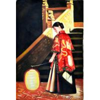 Best Newest Style 100% Handmade Chiese woman Oil Painting On Canvas wholesale