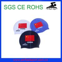 Best Logo printed adult waterproof national fiag silicone caps wholesale