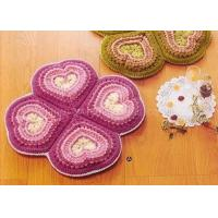 Best Pink Crochet Floor Rug Four Petals Shape Washable Crochet Flower Coasters wholesale