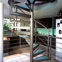 Cheap Curved Glass Spiral Staircase Design / Villa Indoor Spiral Stairs Glass Tread for sale