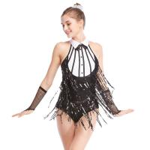 Best Black-White Stunning Tap Costume Sequined-Fringes Mock Neck Dance Dress Performance Wear wholesale