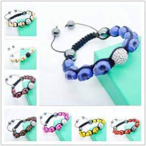 Best Semi Precious Gem Jewelry,Semi Agate Bracelet Turquoise Skull Bracelet with Clay Beads wholesale