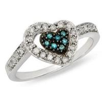 Best Blue topaz and White Diamond 14K White Gold Heart Ring wholesale