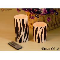 Best Zebra Striped Flameless Wax Candles Yellow Light LED Color With Remote Control wholesale