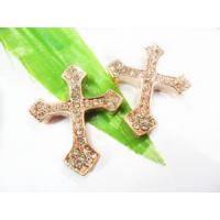 Best Rhinestone Flower Crystal Pave Cross Charms OEM 10 * 30mm For Bracelet wholesale