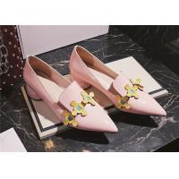 Cheap Patent Leather Comfortable Trendy Shoes Pointed Toe Mid Heels With Colourful Flowers for sale