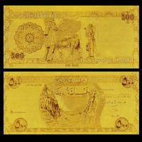 Best 500 Dinars Gold Plated Banknotes 24k Gold Leaf Plated Present wholesale