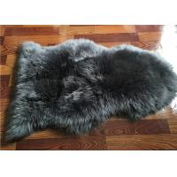 Best Long Wool Real Sheepskin Rug Grey Dyed Anti Slip For Living Room Baby Play wholesale