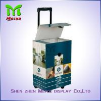Best Cardboard  POP Exhibition Trolley Box With Plastic Holder And Two Plastic Wheels wholesale