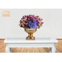 Buy cheap 3 Sizes Classic Fiberglass Flower Pots Gold Leafed Finish Poly Resin Planters from wholesalers