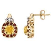 Best 14K Yellow Gold Earrings Citrine, Garnet and Diamond earring wholesale