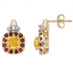 Best 14K Yellow Gold Earrings Citrine, Garnet and Diamond earring wholesale