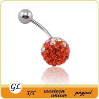 China crystal body jewelry belly button ring on sale