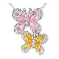 Best Carat Pink & Yellow & White CZ Butterfly Pendant wholesale