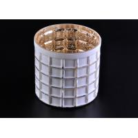 Best Mercury Electroplated White Sprayed Glass Candle Jars , Square Pattern wholesale