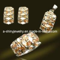 Best 2012 New Designed 925 Sterling Silver/Brass Jewelry Set with Micro Pave Setting CZ (RSA5472) wholesale