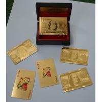 Best Wooden box $100 Dollar Gold Playing Cards with Both sides gold foil Material wholesale