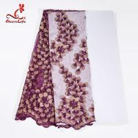 Buy cheap 130CM Polyester Guipure Lace Fabric / African Beaded Flower Lace Embroidery from wholesalers