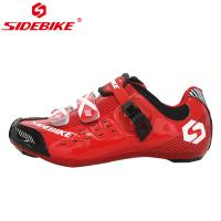 China Red Lock Pedal Road Bike Cycling Shoes Red And Black Color Slip Resistance on sale