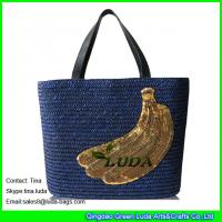 Details Of Navy Blue Straw Beach Bag Banana Wheat Straw