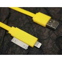 Cheap 2 In 1 Yellow Flat Micro USB Cable 4 Conductors For IPhone 4 / IPhone 5 for sale