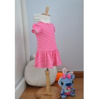 Best Bow Neck  Girls Pink And White Striped Dress , Young Girls Party Dresses Elastic Waist wholesale