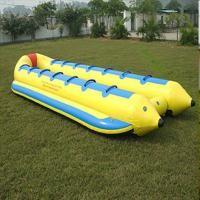 Quality 0.9 mm PVC tarpaulin single line and double lines banana shape boat wholesale