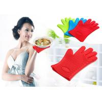 Best Waterproof Heat Resistant Household Mitt Red Silicone Oven Gloves With 5 Fingers wholesale