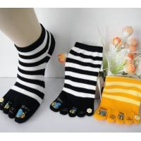 Best Girls' Five Toe Socks With Beautiful Rubber Pattern On The Toe , Striped Five Toe Socks wholesale