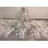 "Best Off White Mesh 3D Flower Embroidery Beaded Lace Fabric 50"" Wide 1 Yard wholesale"