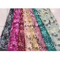 Best Gold Silver Sequin Fabric , Multi Colored Embroidered Floral Dress Lace Fabric For Gown wholesale