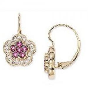 Best Earring(Pink Ruby and Diamond 14K Gold Earrings-EVIE0176) wholesale