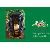 Best Rattan Vase Shaped Solar Garden Lights Flickering Yellow LED Inside wholesale