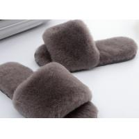 Cheap Light Grey Lambswool Fluffy Flip Flop Slippers , Women'S Backless Sheepskin Slippers for sale