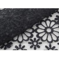 Cheap Black Embroidered Lace Fabric Floral Lace Organza Polyester Fabric For Dresses for sale