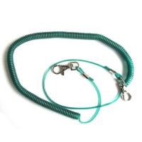 Dark green high pulling wire inside plastic stretchy coil lanyards for fishing camping use