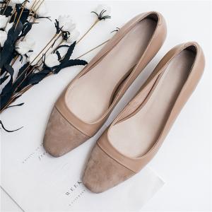 Cheap Cow Suede Office Ladies Shoes , Cap Toe Womens Low Heel Pumps Apricot Color for sale