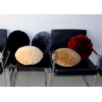 Best Cream Plain 	Lambswool Seat Cushion Round With Australian Merino Sheep Fur wholesale