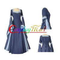 Best Medieval Dress Wholesale XXS to XXXL Customize Light Blue Medieval And Renaissance Dress With Trumpet Sleeves For Gothic wholesale
