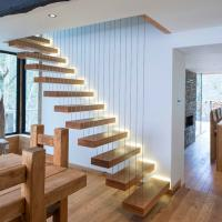 Cheap Modern Decorative Floating Wood Stairs with Invisible Stringer Stainless Vertical Rod Railing for sale