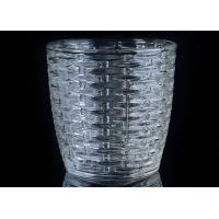 Best 310Ml Capacity Crystal Candle Holder / Glass Tea Light Holders With Woven Pattern wholesale