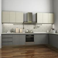 Quality L Shaped Melamine Kitchen Cabinets With Stainless Steel Appliances European Style wholesale