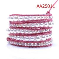 Cheap New style shiny sparkling Pearl Beads, High quality guarantee Leather Wrap Bracelets for sale