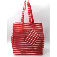 Best Red Stripe Polyester Reusable Shopping Bags With Pouch OEM / ODM Available wholesale