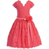 Best Coral V Neck Cap Sleeves Little Girls Holiday Dresses , Kids Birthday Frocks Rose Lace Flower Belt wholesale